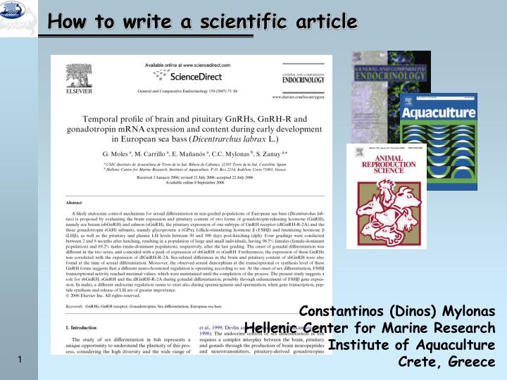 how to write a scientific article n.
