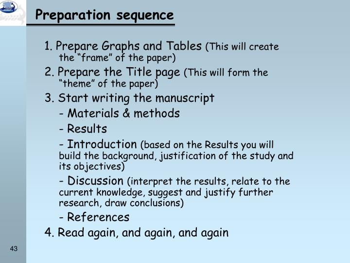 1. Prepare Graphs and Tables