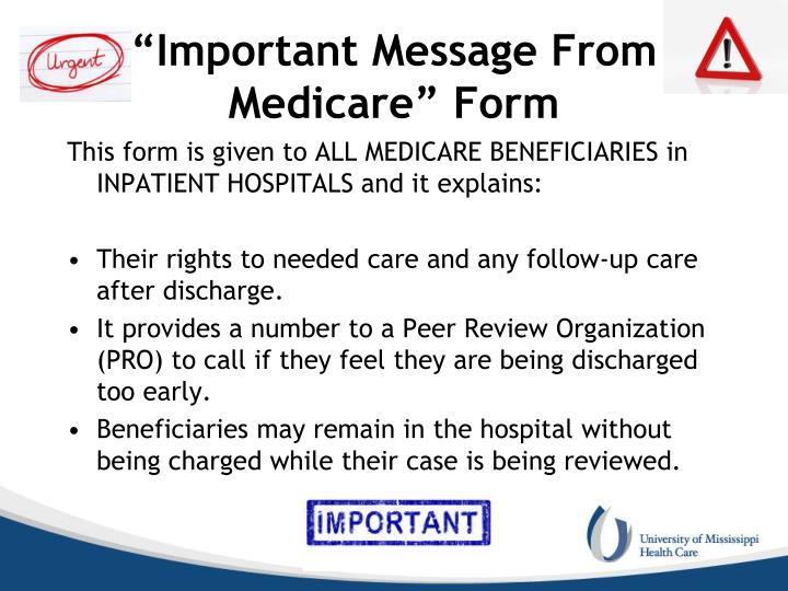 """Important Message From Medicare"" Form"