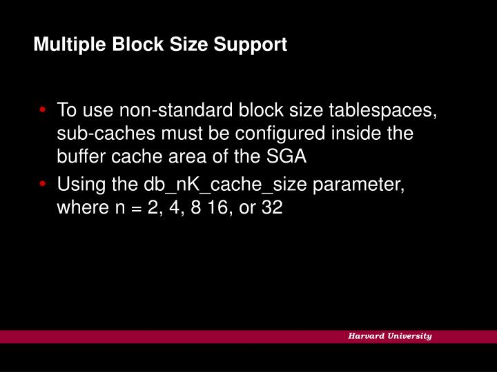 Multiple Block Size Support