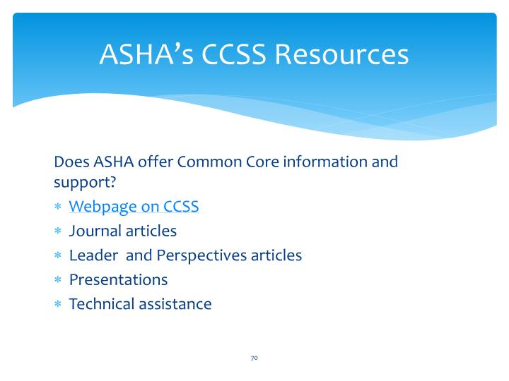 ASHA's CCSS Resources