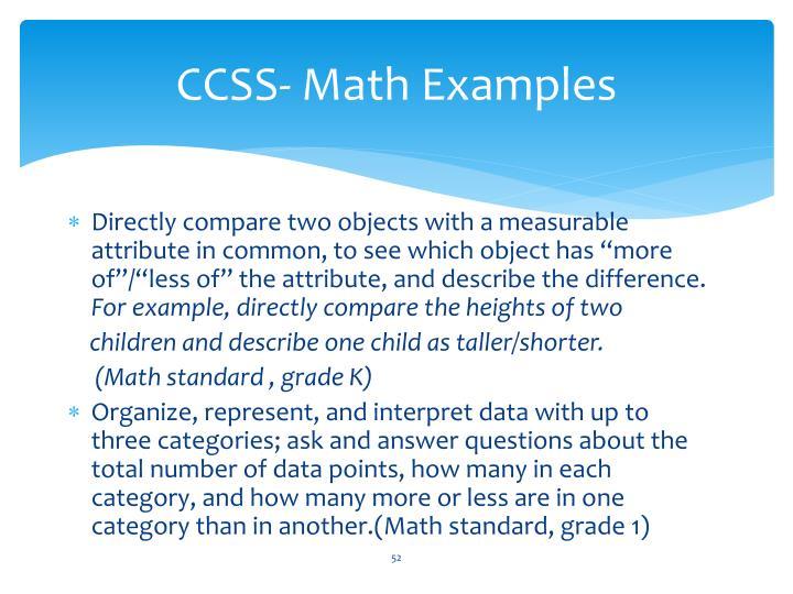 CCSS- Math Examples