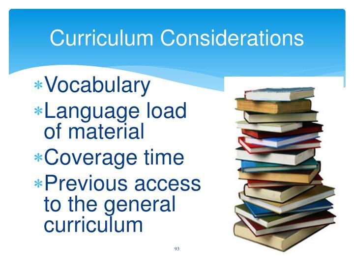 Curriculum Considerations
