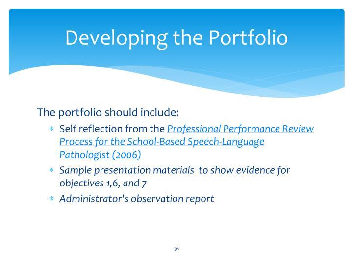 Developing the Portfolio