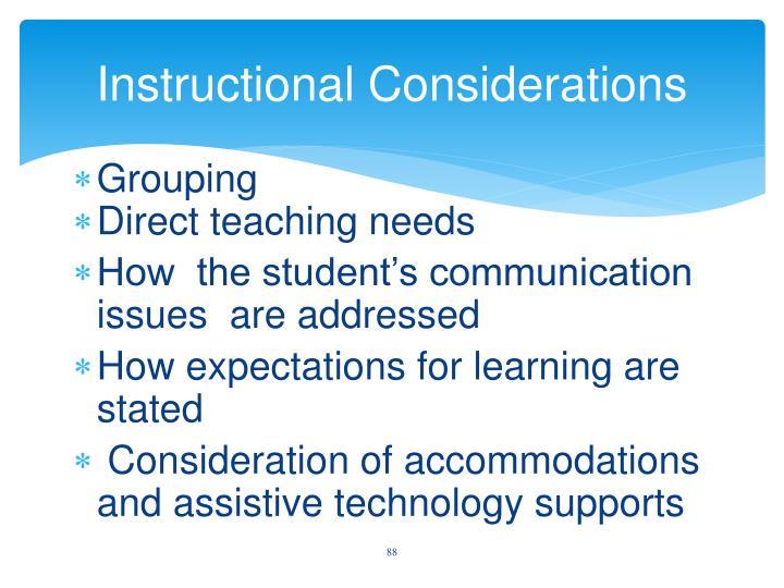 Instructional Considerations
