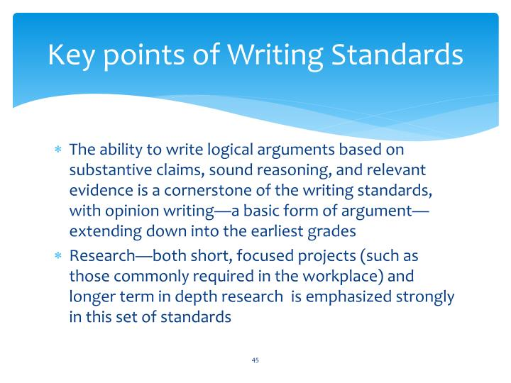 Key points of Writing Standards