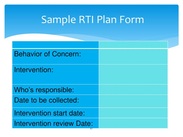 Sample RTI Plan Form