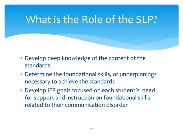 What is the Role of the SLP?