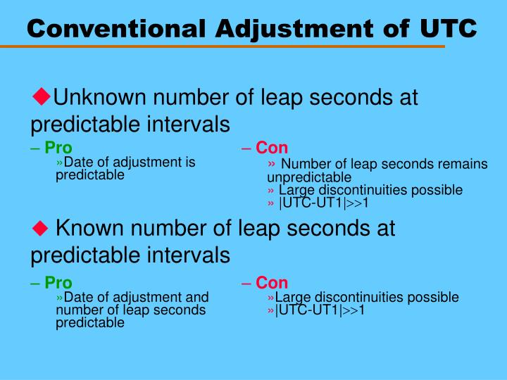 Conventional Adjustment of UTC