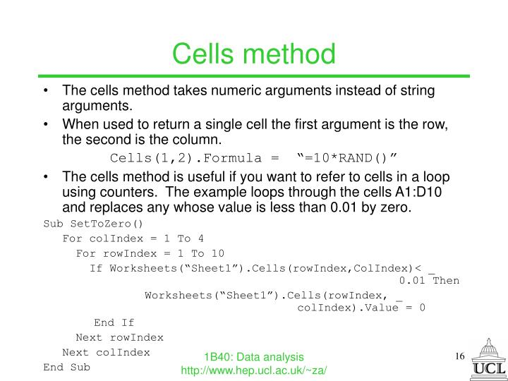 Cells method