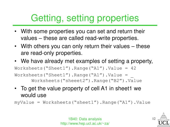 Getting, setting properties