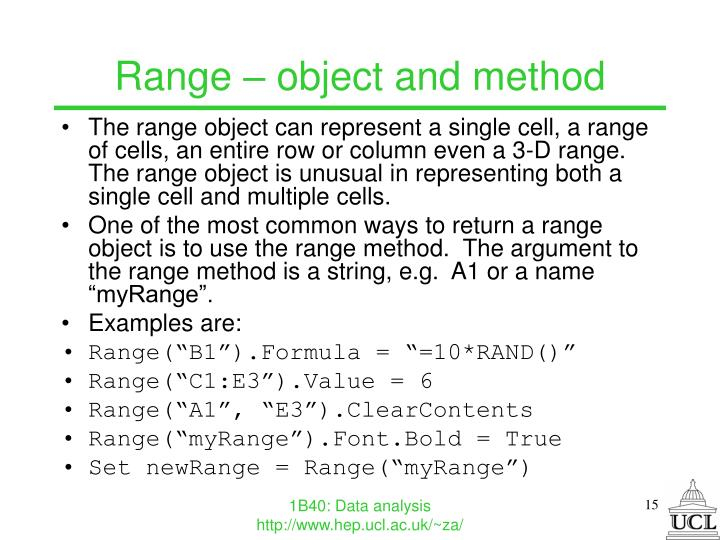 Range – object and method