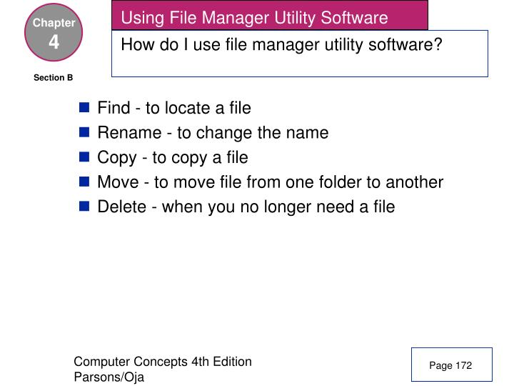 Using File Manager Utility Software