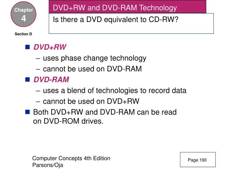 DVD+RW and DVD-RAM Technology