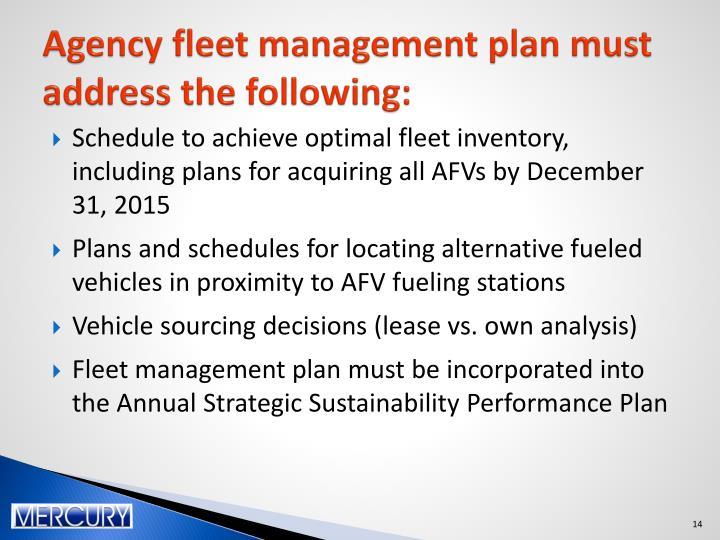 Agency fleet management plan must address the