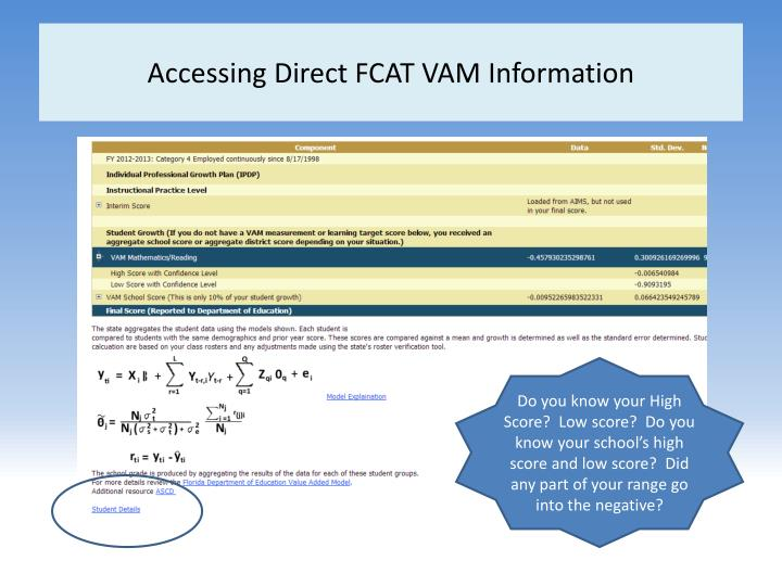 Accessing Direct FCAT VAM Information