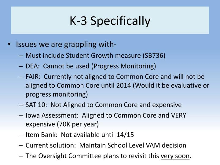 K-3 Specifically