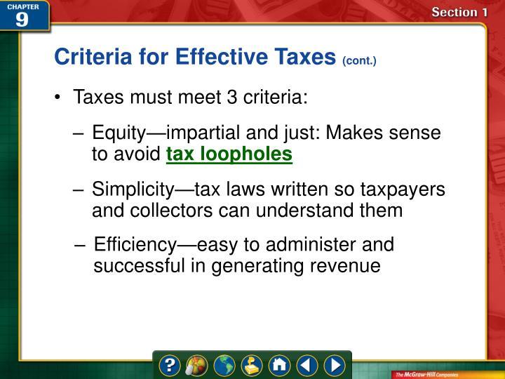 Criteria for Effective Taxes