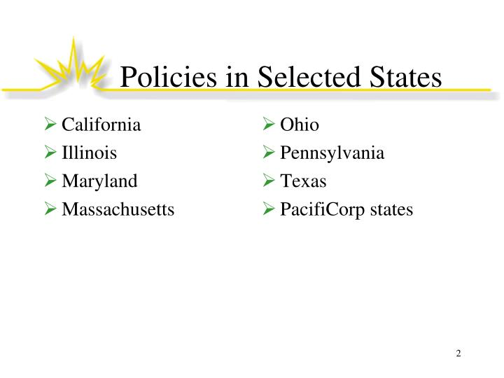 Policies in selected states