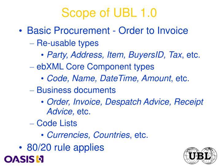 Scope of UBL 1.0