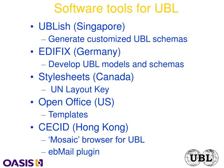 Software tools for UBL