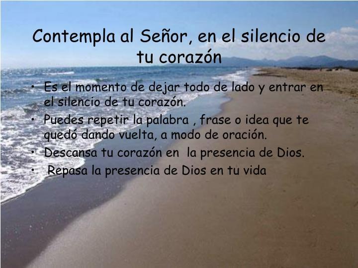 Contempla al Señor, en el silencio de tu coraz