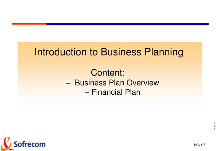 Introduction to Business Planning