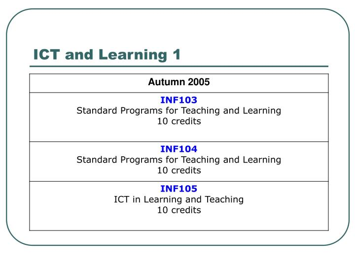 ICT and Learning 1
