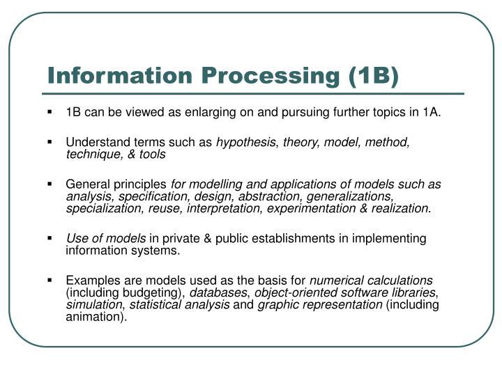 Information Processing (1B)