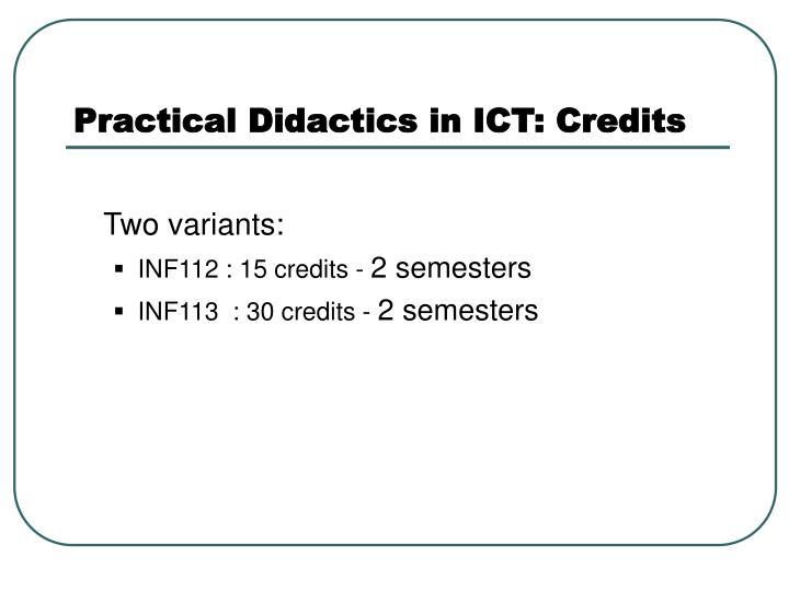 Practical Didactics in ICT: Credits
