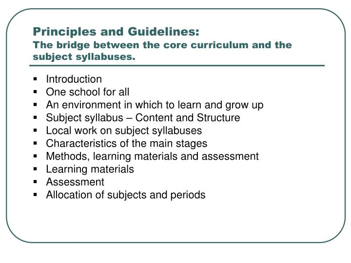Principles and Guidelines: