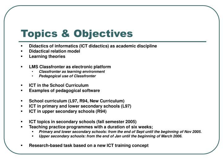 Topics objectives