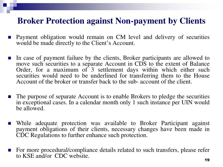 Broker Protection against Non-payment by Clients