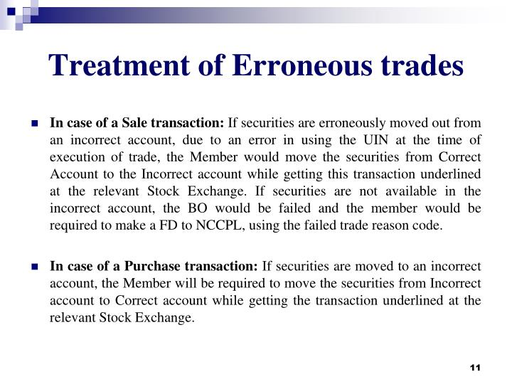 Treatment of Erroneous trades