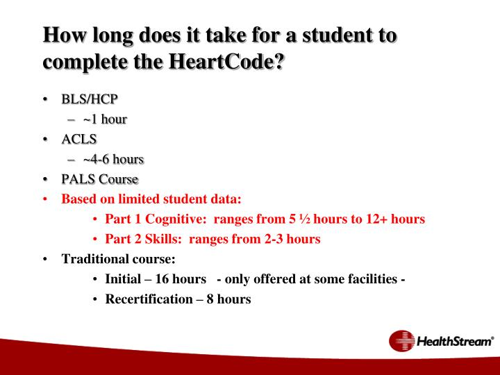How long does it take for a student to complete the HeartCode?