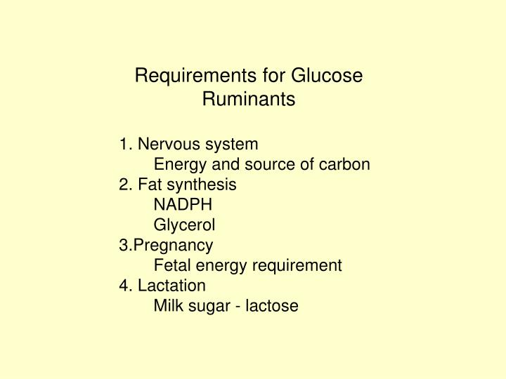 Requirements for Glucose