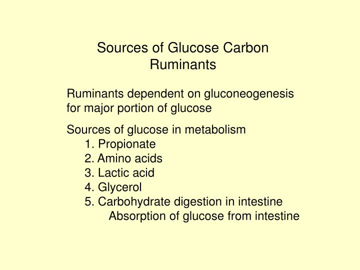 Sources of Glucose Carbon