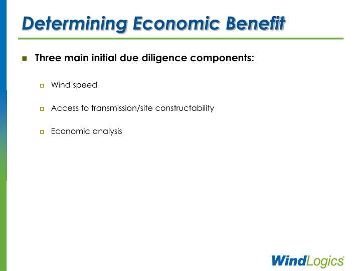 Determining Economic Benefit