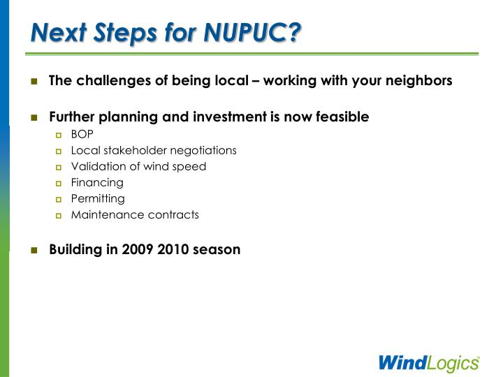Next Steps for NUPUC?