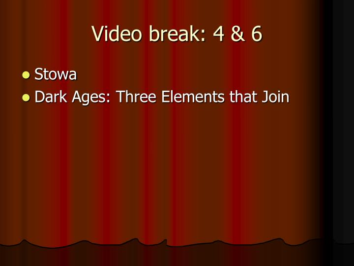 Video break: 4 & 6