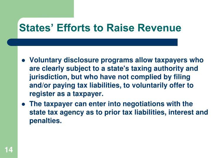 States' Efforts to Raise Revenue