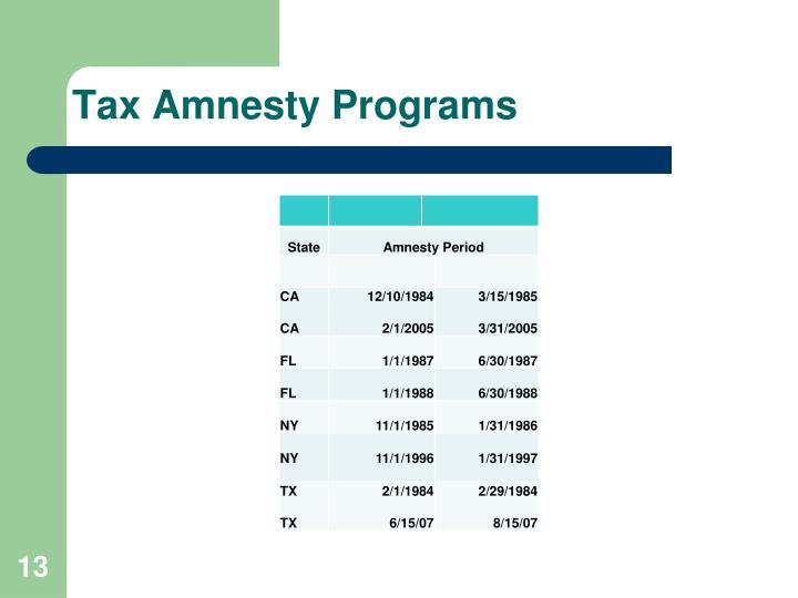 Tax Amnesty Programs