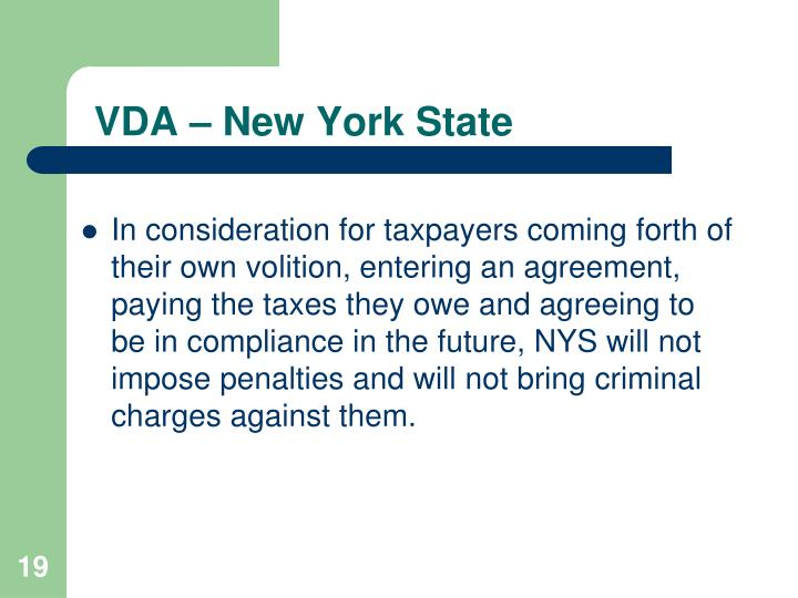 VDA – New York State