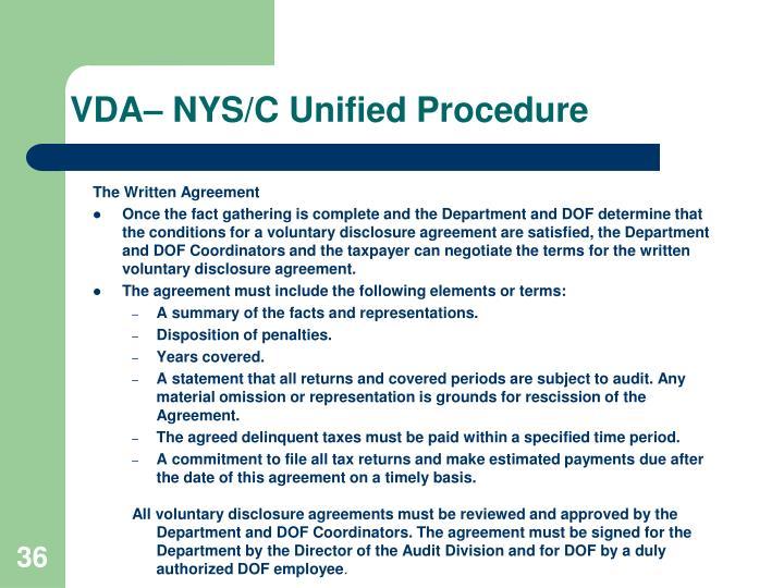 VDA– NYS/C Unified Procedure