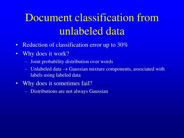 Document classification from unlabeled data