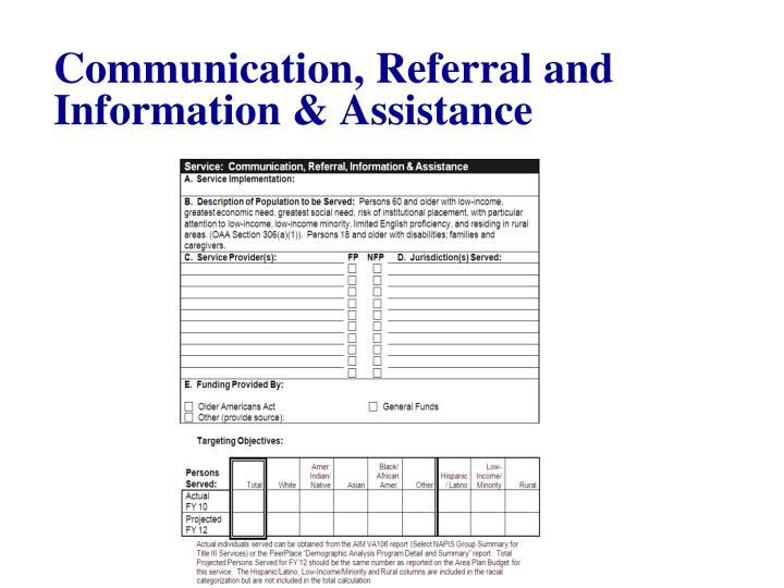 Communication, Referral and Information & Assistance