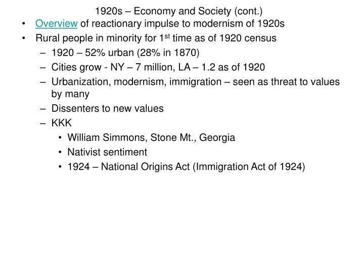 1920s economy and society cont n.