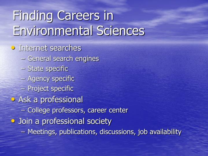 Finding Careers in Environmental Sciences