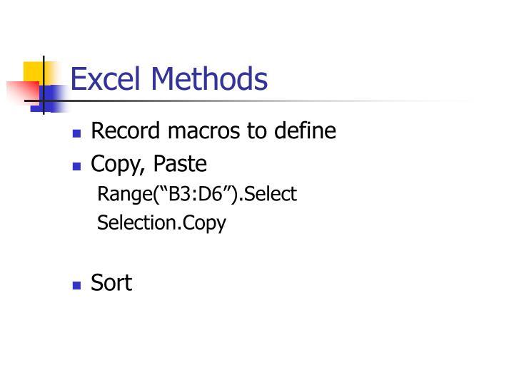 Excel Methods