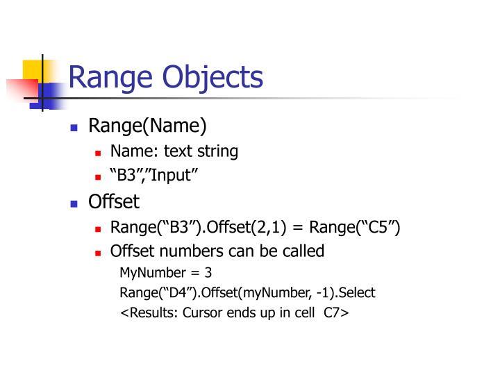 Range objects